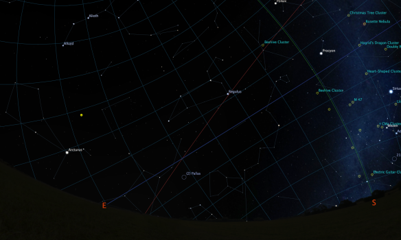 Looking southeast on the morning of November 17th: The Leonids will seem to originate from Leo's head.